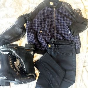 Houndstooth bomber; Size 6